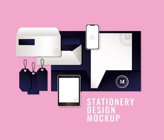 Mockup di borse e tazze con marchio blu scuro di identità aziendale e tema di design di cancelleria