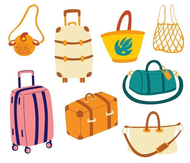 Borse impostate. valigie da viaggio turistico, borsoni da viaggio, valigie, borse per viaggi di lavoro
