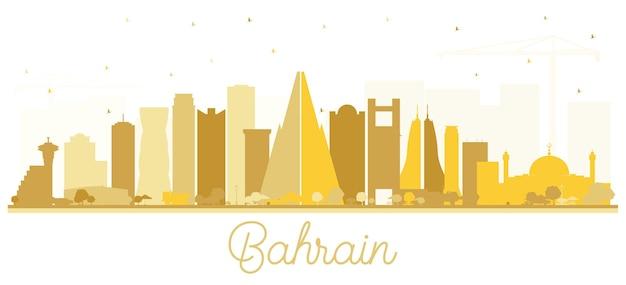 Siluetta dell'orizzonte della città del bahrain con edifici dorati isolati su bianco. illustrazione di vettore. viaggi d'affari e concetto di turismo con architettura moderna. nuovo paesaggio urbano del bahrain con punti di riferimento.