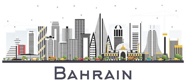 Orizzonte della città del bahrain con edifici grigi. illustrazione di vettore. viaggi d'affari e concetto di turismo con architettura moderna. paesaggio urbano del bahrain con punti di riferimento.
