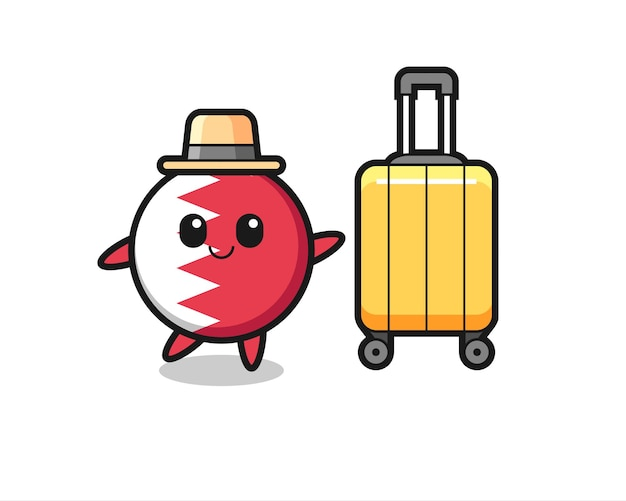 Illustrazione del fumetto del distintivo della bandiera del bahrain con i bagagli in vacanza, design in stile carino per maglietta, adesivo, elemento logo