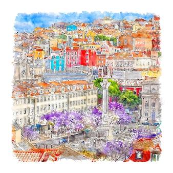 Illustrazione disegnata a mano dell'acquerello di baixa lisboa portogallo