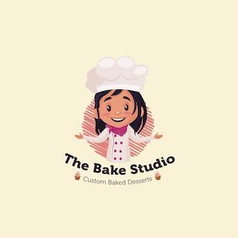Il modello del logo della mascotte di bake studio