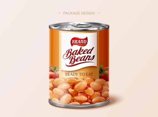 Design del pacchetto di latta di fagioli al forno in illustrazione 3d