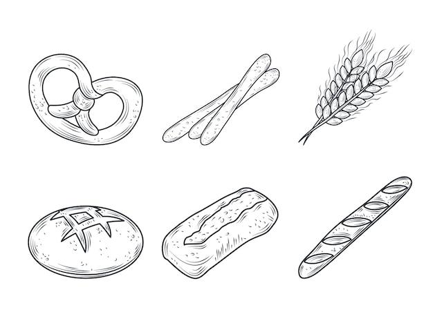 La collezione di icone di pane cotto include pretzel, baguette, panino, isolato su bianco