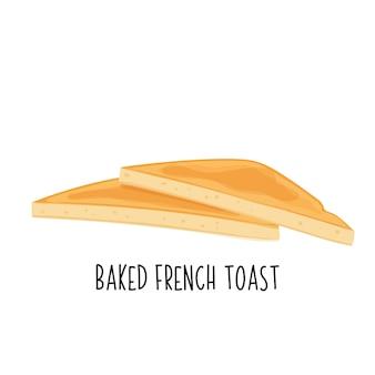 Icona di pane tostato al forno. pane di frumento, due fette di pane tostato fritto francese.