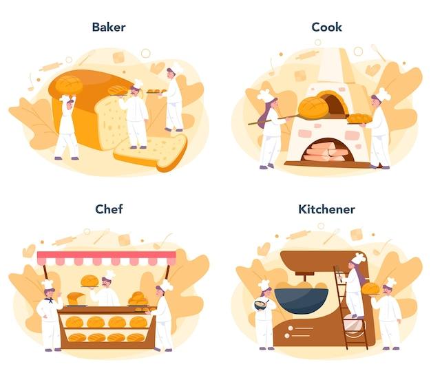 Insieme di concetto di panettiere e panetteria. chef in uniforme che prepara il pane. processo di pasticceria da forno. illustrazione vettoriale isolato in stile cartone animato
