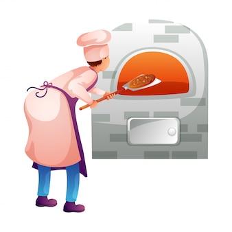 Panettiere che fa la pizza nel carattere piatto della cucina