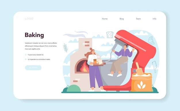 Banner web baker o pagina di destinazione. chef in divisa che fa il pane