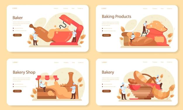 Banner web baker o set di pagine di destinazione