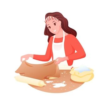 Donna fornaio che cucina, signora casalinga che fa la pasta con il mattarello per cuocere il pane, la pizza o il biscotto