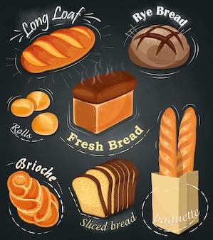 Pubblicità da forno alla lavagna. set di prodotti da forno. menù. pagnotta lunga, pane di segale, baguette, panini, pane bianco, pane a fette, brioche. illustrazione