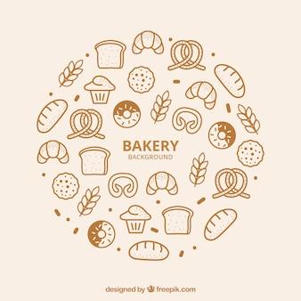 Sfondo di panetteria in stile piatto