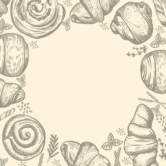 Panetteria o pasticceria con illustrazione di pane disegnata a mano