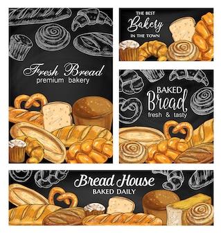 Bandiere di schizzo di panetteria pane lavagna