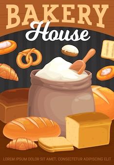 Pane da forno, pasticceria e sacchetto di farina.