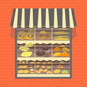 Prodotti da forno e pane in vetrina cafe restaurant o shop element flat design style