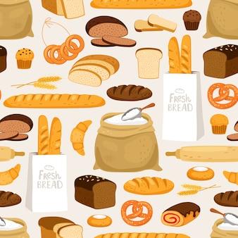 Modello senza cuciture di pane da forno. cartoon impana prodotti e pasticcini, orecchie e panifici