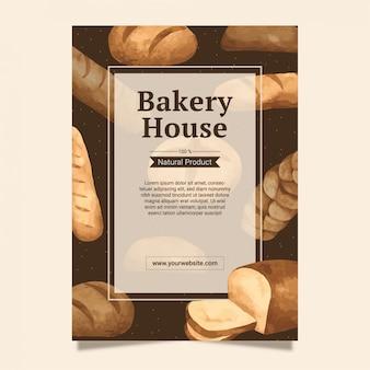 Modello del fondo della struttura dei pani e del forno per progettazione del menu e manifesto in acquerello