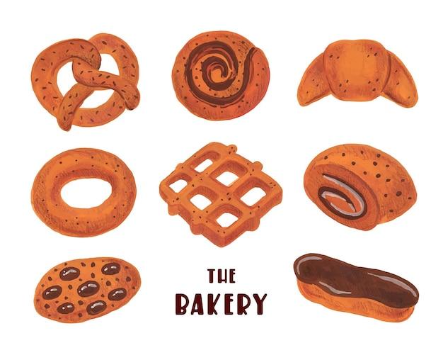 Set di panetteria clipart boulangerie. cibo dell'acquerello isolato