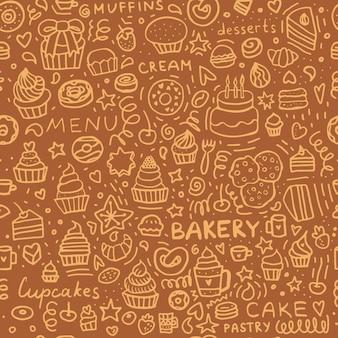 Modello senza cuciture di doodle di panetteria: muffin, cupcakes, pasticcini e torte. insieme di brown della priorità bassa della pasticceria.