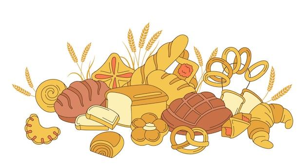 Prodotti da forno, composizione di pane, pasticceria dolce e spighe
