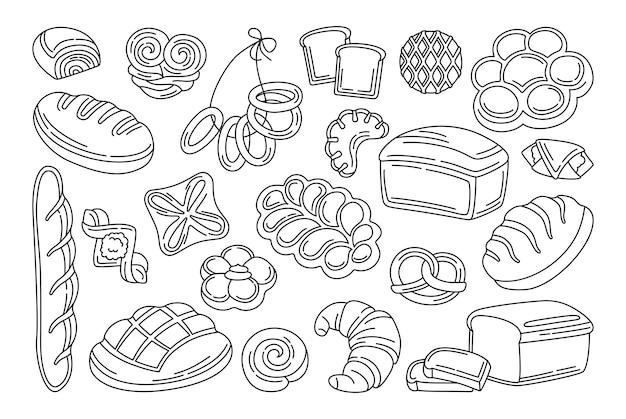 Prodotti da forno doodle set nero. linea pagnotta di pane e baguette francese, pretzel, muffin, croissant, ciabatta baguette francese