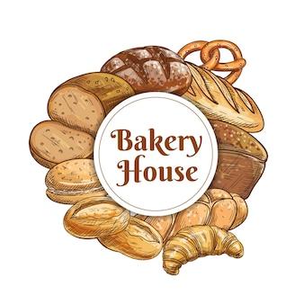 Schizzo di cibo di panetteria e pasticceria con pagnotte di pane