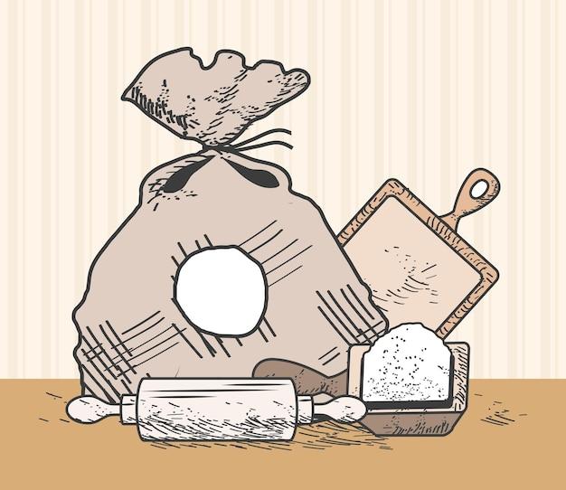 Schizzo di cucchiaio di farina ingrediente da forno