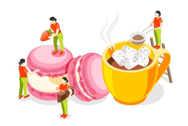 Panetteria isometrica con grandi icone di biscotti e personaggi di piccole persone Vettore Premium