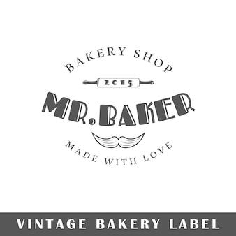 Etichetta di panetteria isolata su sfondo bianco. elemento di design. modello per logo, segnaletica, design del marchio.