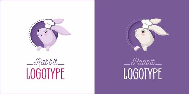 Logo di panetteria con coniglio in cappello da chef