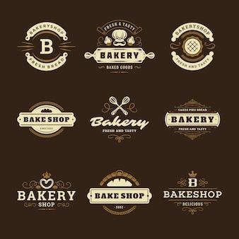 I modelli di progettazione di loghi e distintivi di panetteria hanno messo l'illustrazione Vettore Premium