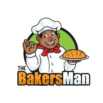 Il vettore del logo della mascotte dell'uomo della panetteria