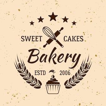 Emblema, etichetta, distintivo o logo vettoriale vintage di prodotti da forno e pasticcini su sfondo di colore chiaro