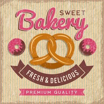 Cartellonistica di panetteria. pane e ciambelle con l'illustrazione degli alimenti freschi dei bigné per il cartello d'annata del negozio o del mercato del forno