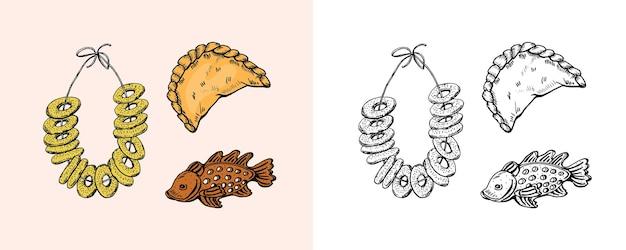 Prodotti da forno bagel e biscotti e dolci e dessert di grano e pesce incisi disegnati a mano
