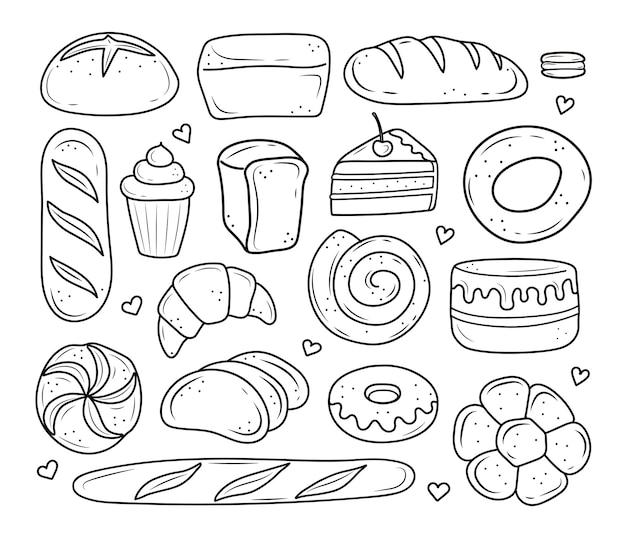 Prodotti da forno disegnati nello stile del doodle torta di pane bianco e nero monchik croissant