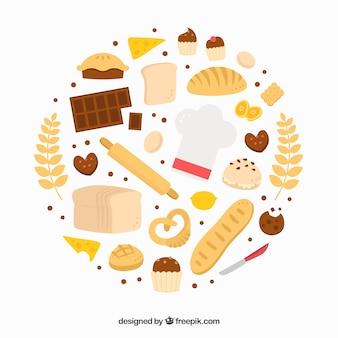Prodotti del panettiere in design piatto
