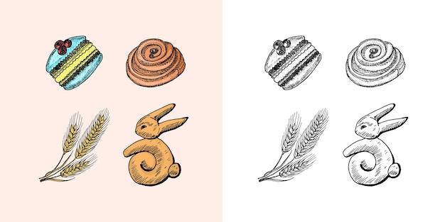 Prodotti da forno torta o kurnik e biscotti coniglio dolci e dessert incisi disegnati a mano nel vecchio