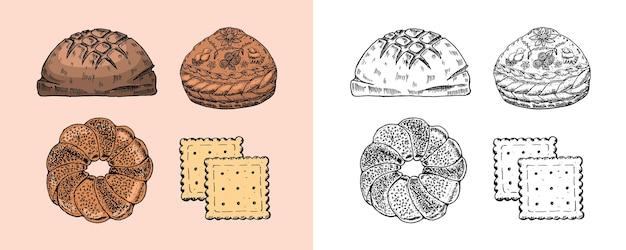 Prodotti da forno torta o kurnik e biscotti dolci e dessert incisi disegnati a mano in un vecchio schizzo e old