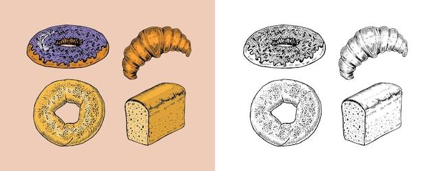 Set di prodotti da forno ciambella e croissant di pane e panino e ciambella incisa disegnata a mano nel vecchio