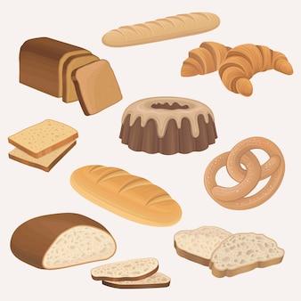 Set di icone negozio prodotti da forno. pagnotte di pane integrale e di segale, toast di pane a fette, croissant, torta al cioccolato, pretzel, baguette francese.