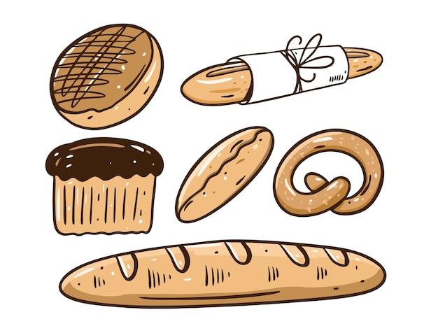 Set da forno. pane, pagnotta, torta. disegnare a mano. stile cartone animato. isolato su sfondo bianco.