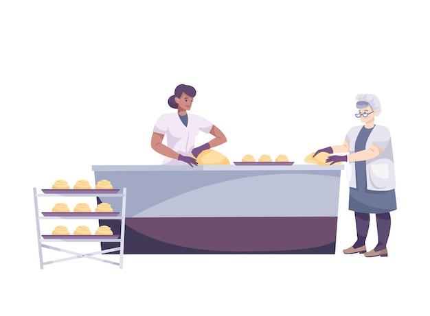 Composizione piatta con set da forno con due donne che modellano la pasta sul tavolo della cucina