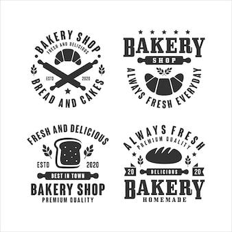 Collezione di logo design negozio di panetteria