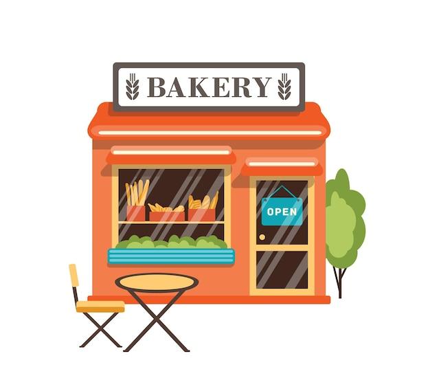 Illustrazione piana del negozio di panetteria isolata su bianco.
