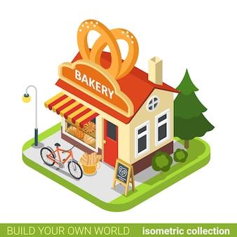 I pretzel del negozio di panetteria modellano il concetto del bene immobile del ristorante del caffè della costruzione.