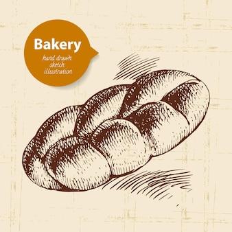 Sfondo di schizzo di panetteria. illustrazione disegnata a mano d'epoca