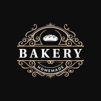 Logo tipografia di lusso ornato vintage da forno con ornamento ricciolo floreale